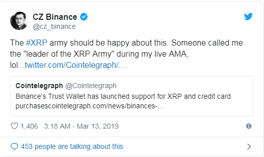 Binance wallet supports Credit Card