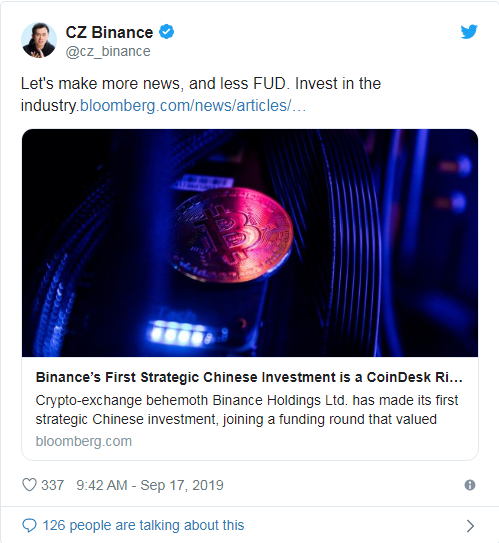 Binance Chinese crypto media firm